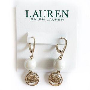 Lauren Ralph Lauren Gold Tone Crest Pearl Earrings